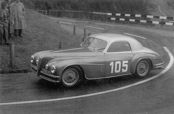 Alfa Romeo 6c 2500 Super Sport racing in the Swiss Alps (about 1950)